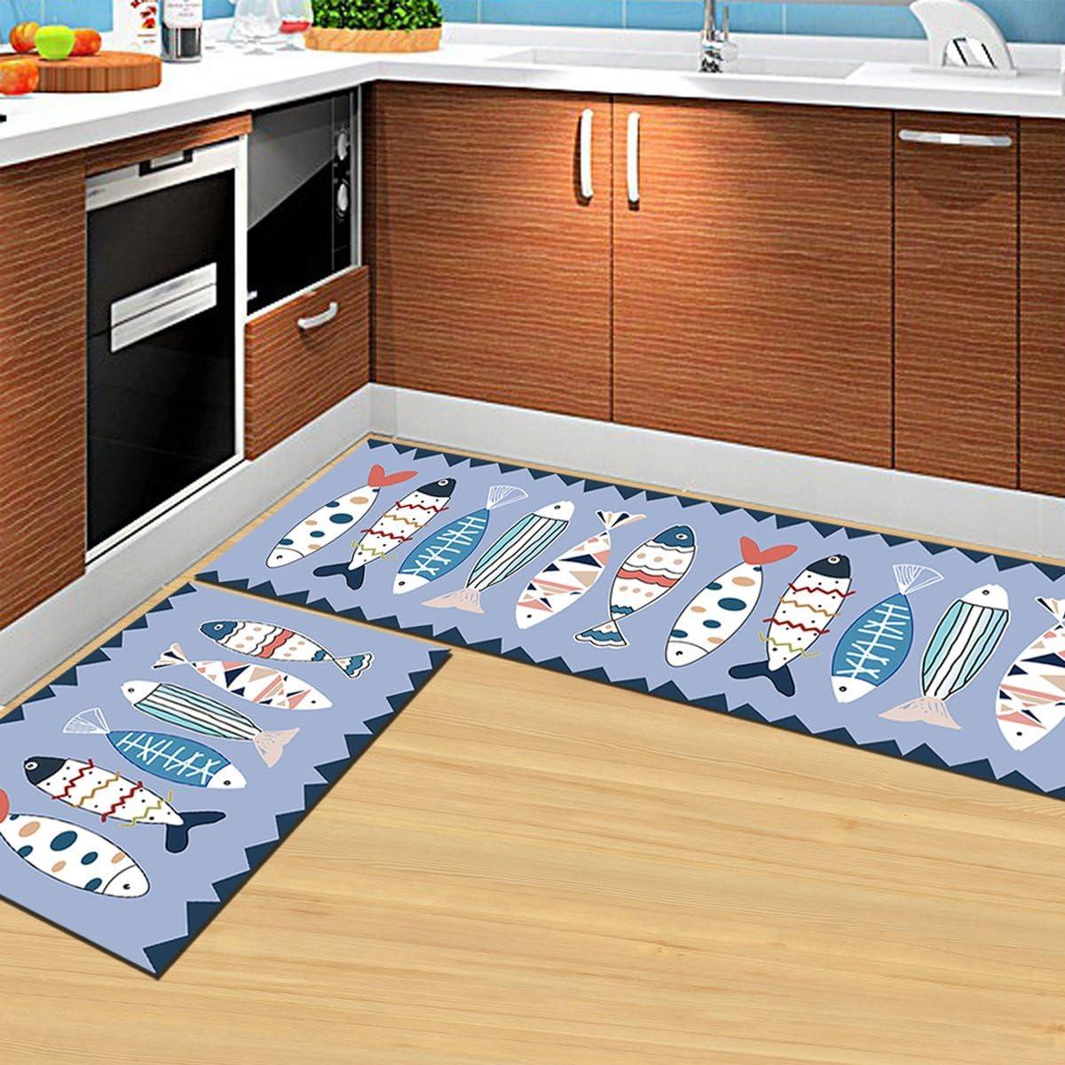 2/pi/èces OUNONA Tapis de Cuisine antid/érapant Corridor Tapis rectangulaire Paillasson Tapis 40/x 60/cm et 40/x 120/cm Poisson