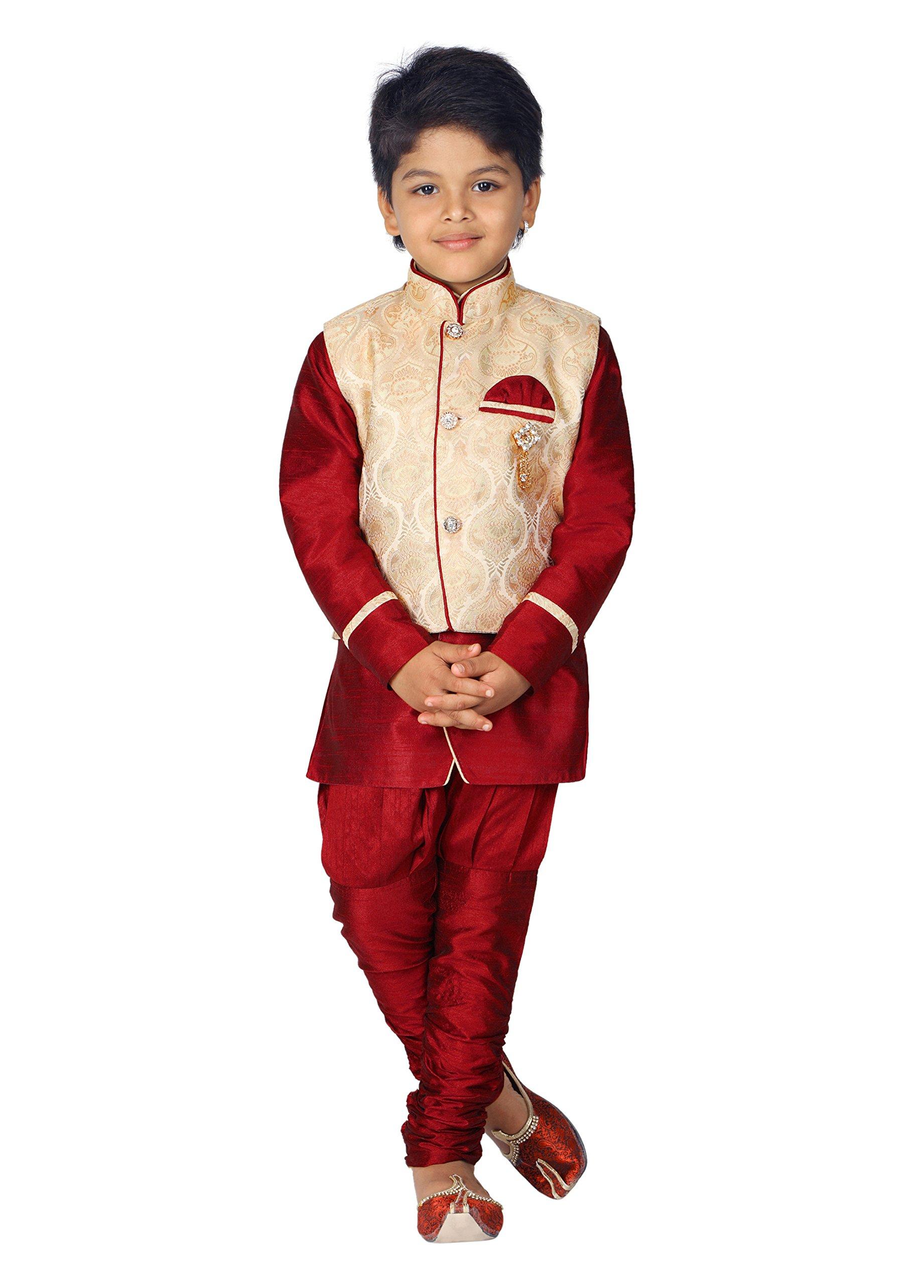 Ahhaaaa Kids Ethnic Indian Dupion Silk Kurta Pyjama and Waistcoat Set for Baby Boys (4-5 Years, Maroon)