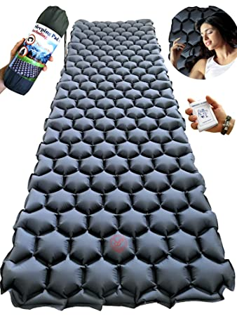 Rayan Deluxe Backpacking Sleeping Pad for Camping, Hiking or Travel – Ultralight Self Inflating Sleep Mat – Lightweight, Compact and Comfortable Camp Air Mattress