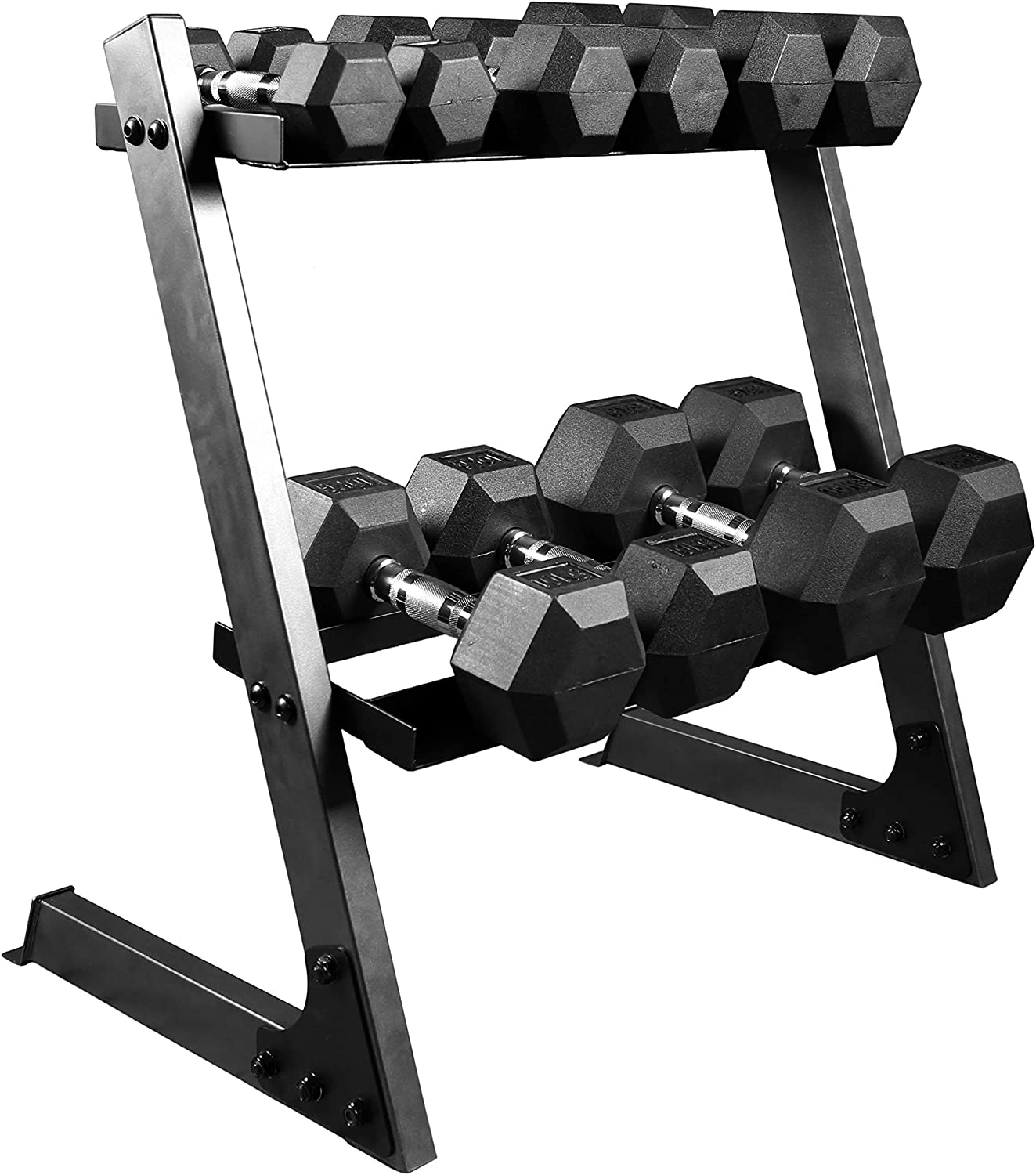 Hex Dumbbell Weights Set with Storage Rack Sets Dumbell Gym Rubber kg