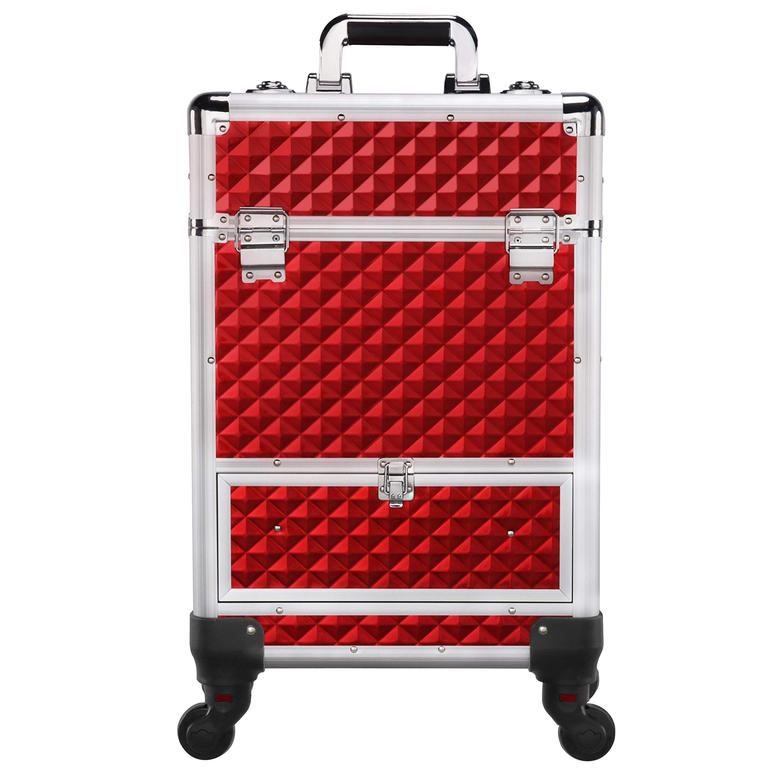 Yaheetech Rolling Aluminum Red Make Up Case - Cosmetic Trolley Train Case Sliding Drawer With 4 Retractable Trays