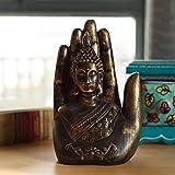 eCraftIndia Polyresin Decorative Palm Buddha Figurine (11.98 cm x 8 cm x 16.99 cm, Brown)