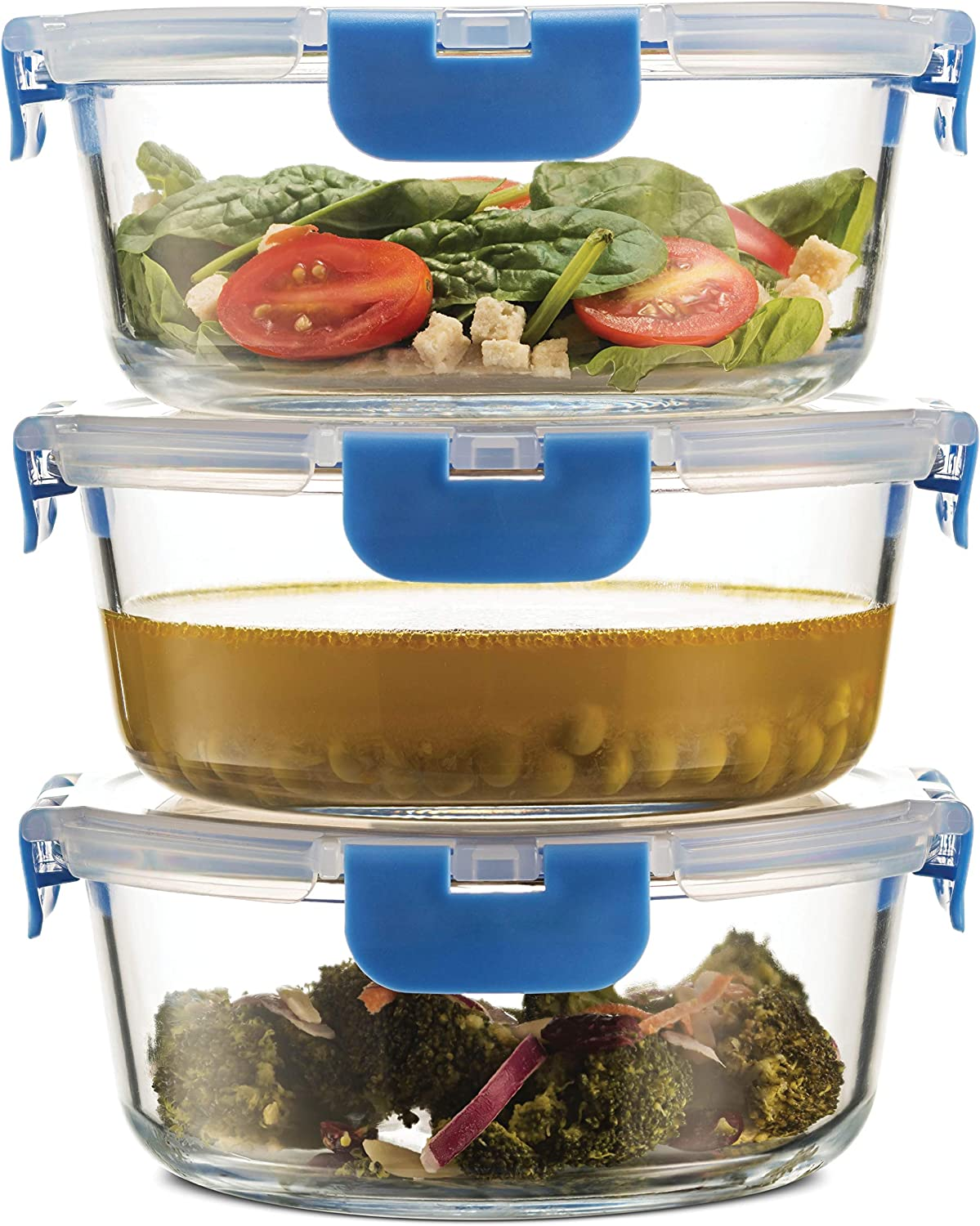 Superior Glass Round Meal Prep Containers -3pk(32oz) Newly Innovated Hinged BPA-free Locking lids- 100% Leak Proof Glass Food Storage Containers, Great on-the-go, Freezer to Oven Safe Lunch Containers