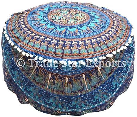 Amazon.com: Mandala Indio puf de cojín de piso de algodón ...
