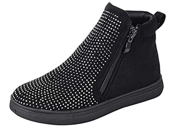 Amazon.com | BDshoes Faun Studded Sparkle Glitter Double Zipper Flat Sneaker Ankle Bootie Boots For Little Girls Black Taupe Assorted Colors | Boots
