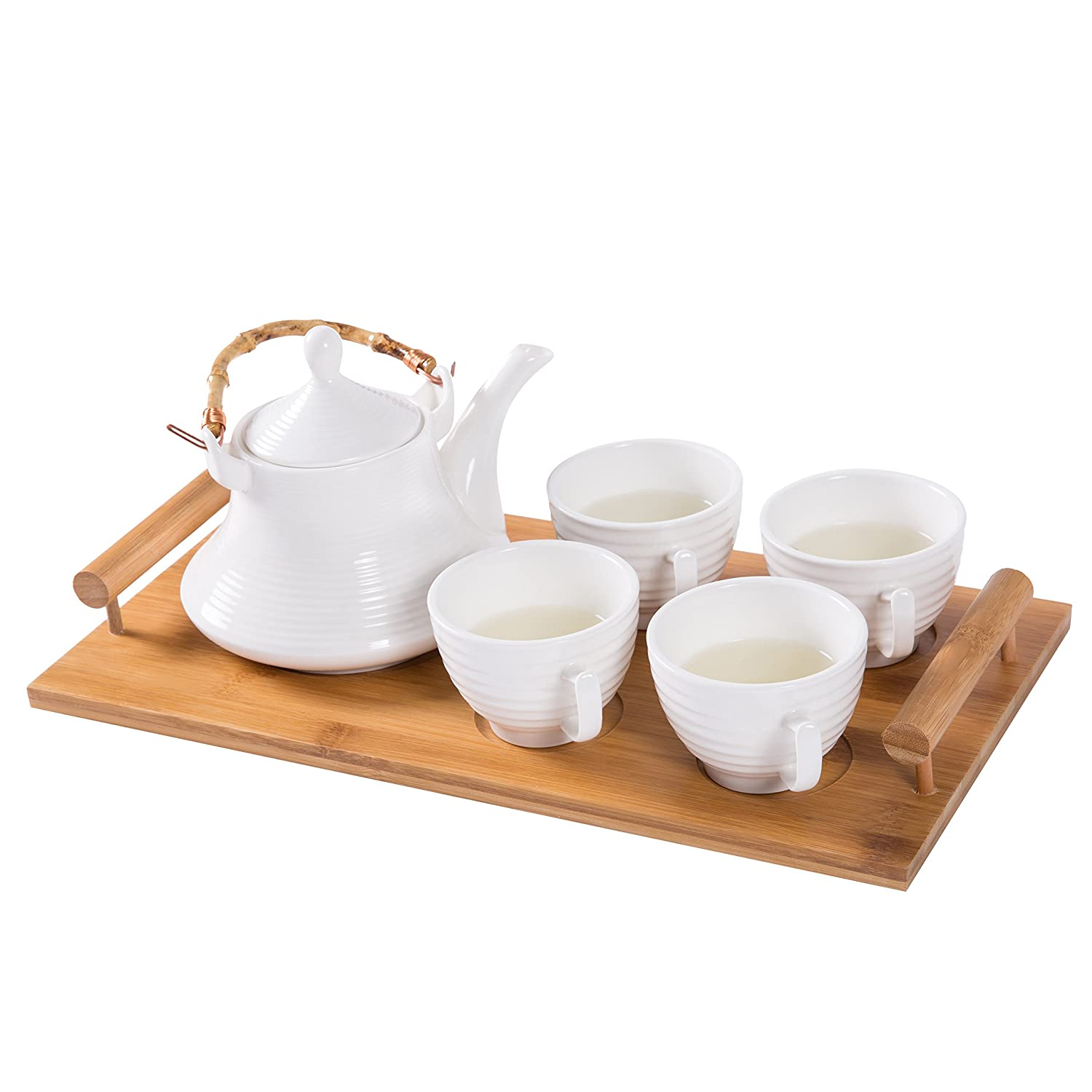 White Ceramic Tea Set with Teapot & 4 Teacups with Ribbed Design and Bamboo Serving Tray MyGift SPOMHNK1362