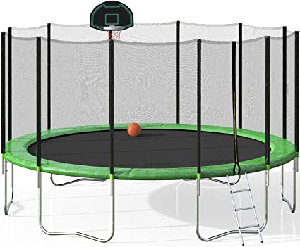 14FT Round Trampoline Safety Enclosure Bounce Jump Net Toy Games Outdoor Sports