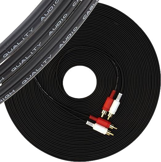 Cable RCA a 2 macho de 20 m audio estéreol para subwoofer amplificado giradiscos mesa de mezcla altavoces externos sistema de cine en casa vista previa de Phono reproductor de CD 20 metros negro