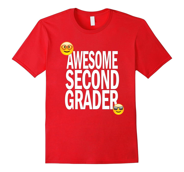 Awesome 2nd Grader Emoji T-Shirt For Second Grade Girls-Art