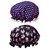 Mudder 2 Pieces Double-layer Bath Cap Elastic Band Shower Hat Waterproof for Women Shower Spa