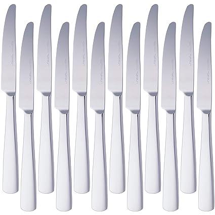 AmazonBasics – Cuchillos de mesa de acero inoxidable con borde cuadrado, juego de 12