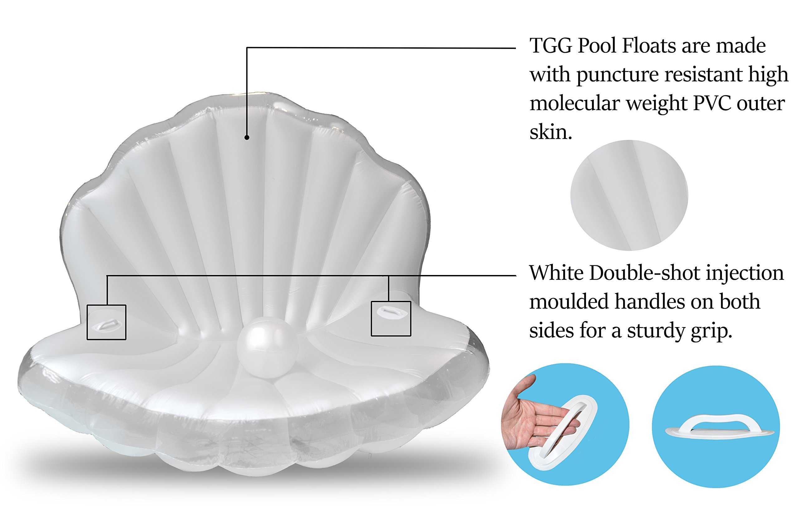 TGG Colossal Sea Shell Pool Float/ Swimming Pool Inflatable Raft 62 x 54 x 54 inches (Pearl White w/ White Handles) by Tgg (Image #4)