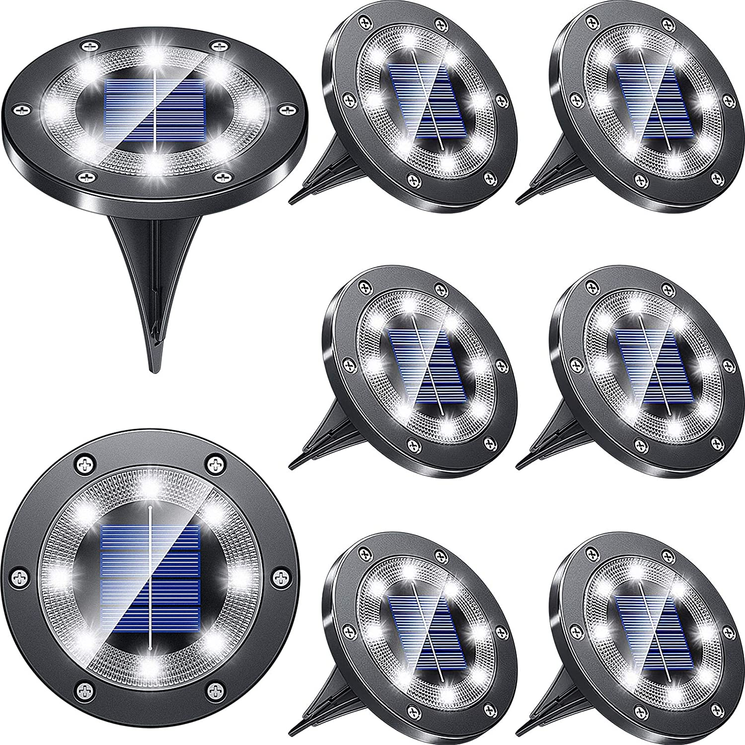 Biling Solar Lights Outdoor Grid Design Shell, Solar Powered Frosted Black Ground Lights Outdoor Waterproof, 8 LED Solar Disk Lights for Pathway Garden Yard Landscape Patio Lawn - White (8 Pack)