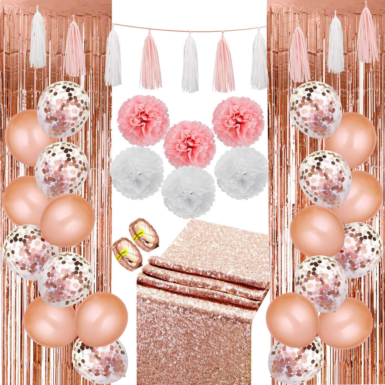 Rubans Rideaux pour D/écoration de Mariage 49 Pi/èces D/écorations de F/ête en Or Rose Comprenant Ballons de Confettis en Latex Pompons en Papier de Soie Guirlande de Glands Chemin de Table