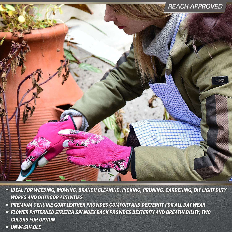 Tailles,7//S,2 couleurs obtenues: Violet et Vert, GA7444 Femme Gants de Jardinage esth/étiques en Cuir de ch/èvre pour dames Vgo 2 Paires de Gants de Jardin