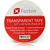 XFasten Crystal Clear Transparent Tape, 3/4-Inch by 60-Yard, 3 Inch Core, Pack of 3