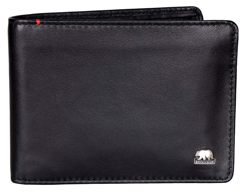Brown Bear Business Geldbörse Leder Farbe Schwarz mit RFID Schutz Hochformat hochwertig Damen Geldbeutel Herren Portemonnaie Frauen Portmonee Männer Portmonaise BB 1 gy