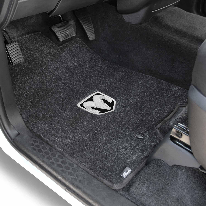 Horns Logo 2009-2011 Dodge Ram 1500 Crew Cab Dark Slate Velourtex Floor Mats