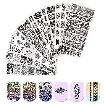 Amazon.com : BORN PRETTY Nail Art Stamp Templates Lace Flower Heart ...