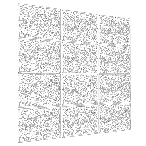 LRZCGB Hanging Room Divider,12pcs Safety PVC Screen Panel with Butterfly Flower and Bird for Decorating Living, Dining, Study and Sitting-Room, Hotel, Bar (White)