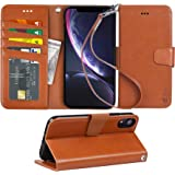 Arae Wallet Case for iPhone xr 2018 PU Leather flip case Cover [Stand Feature] with Wrist Strap and [4-Slots] ID&Credit…