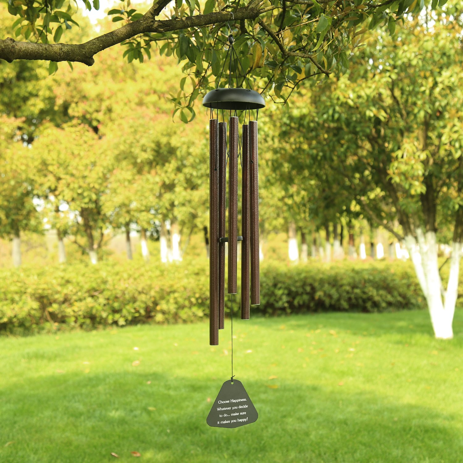 AUCHEN Large Wind Chimes Outdoor Deep Tone,36'' Sympathy Wind Chimes Amazing Grace Tuned Beautiful Melody,Memorial Wind chimes Personalized 5 Metal Tubes Garden Patio Home Housewarming Decor,Brozen