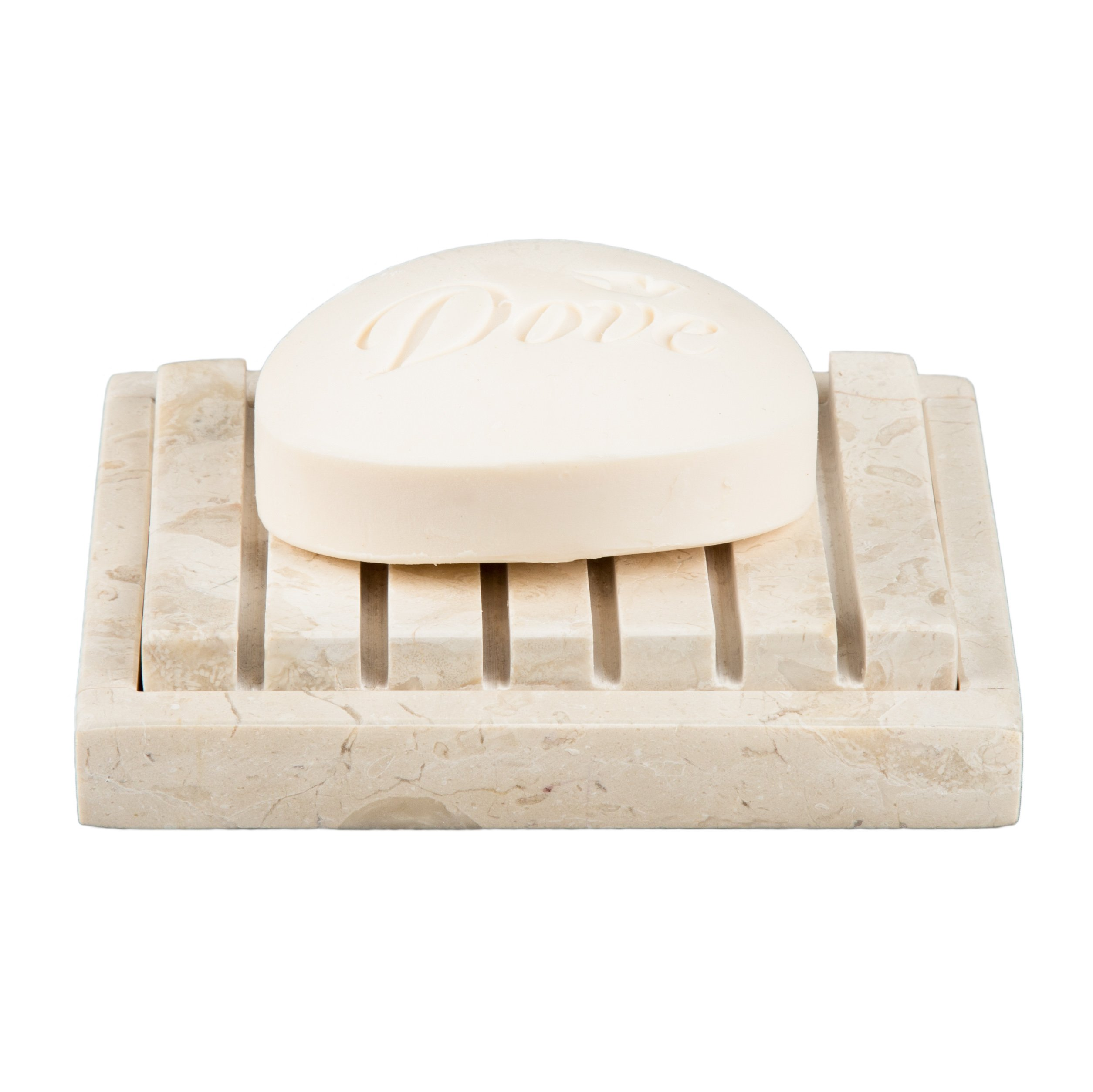 Creative Home Natural Champagne Marble Stone SPA Collection 2 Piece Bar Soap Dish, Soap Tray by Creative Home (Image #2)