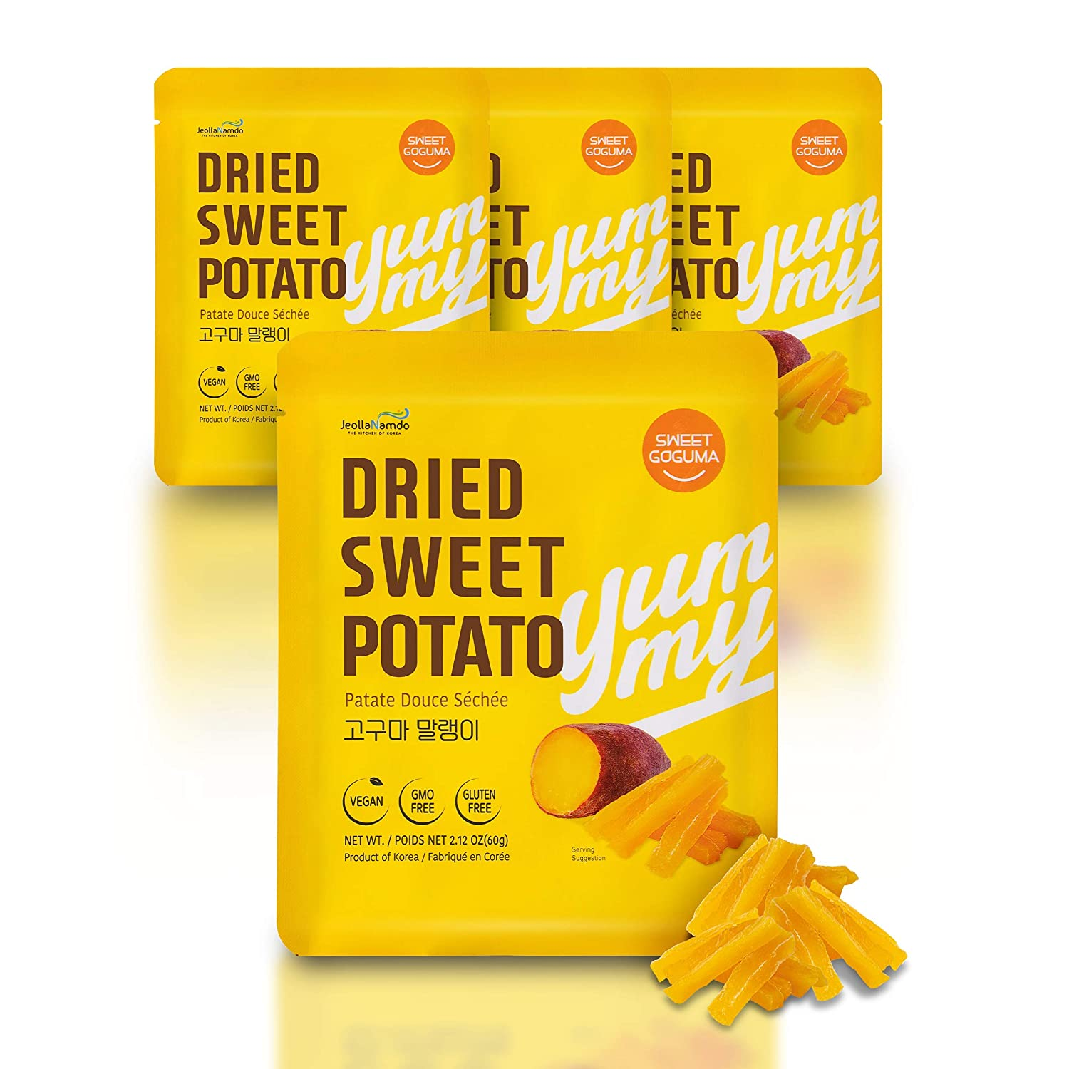 100% Natural Sweet Potato Snacks from South Korea [ 4 PACK ] Healthy Vegan GMO Free Gluten Free Snack for Diets with No Preservatives No Sugar Added l Soft + Chewy 해남 고구마 말랭이 by [Sweet Goguma]