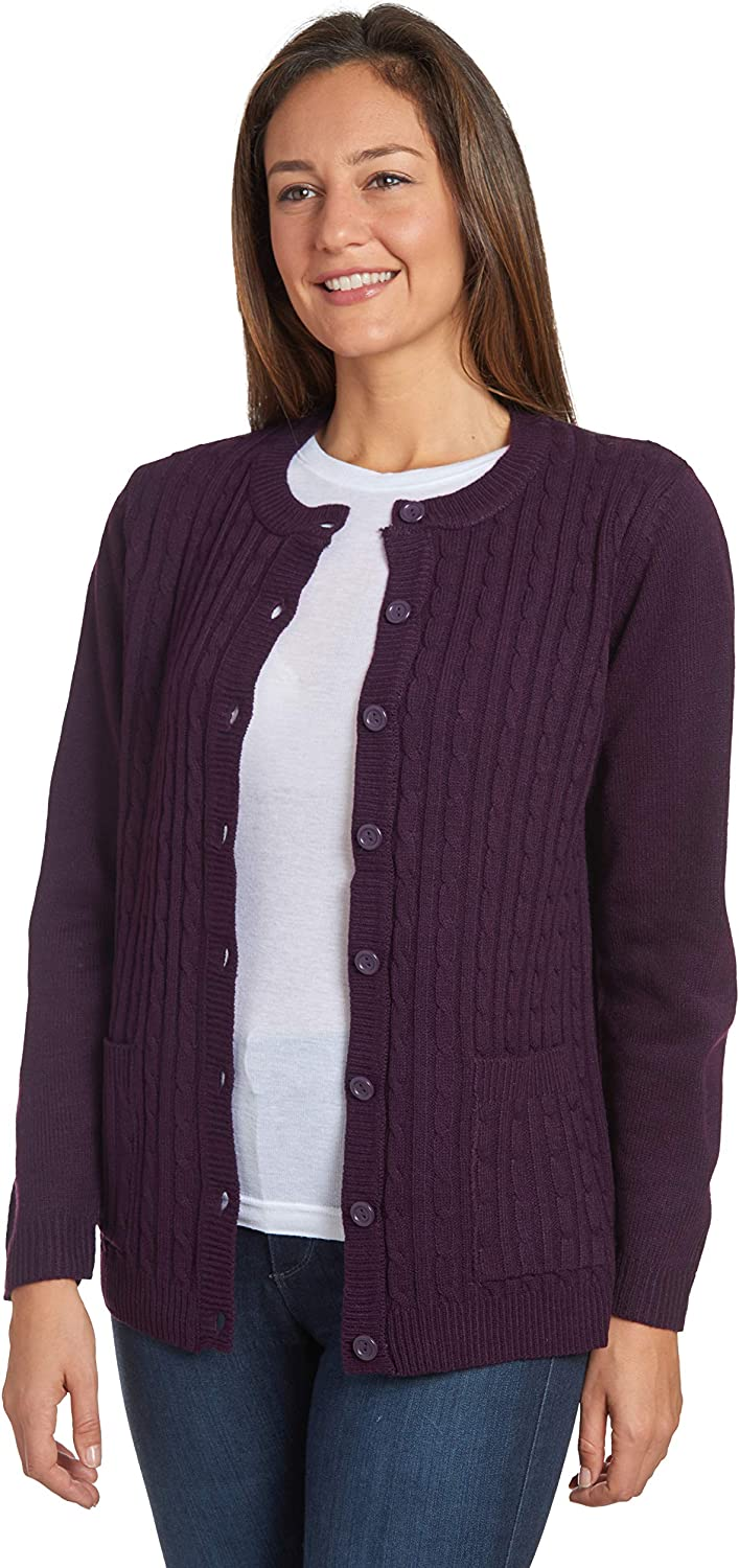 AmeriMark Womens Cardigan Sweater Button Down Long Sleeve with Two Front Pockets
