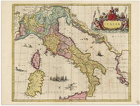 Italia Cartina Antica.The Blaeu Prints Italia Mappa Storica Stampa Da Atlas Antico Di Joan Blaeu Mostra Mappa Antica Italia Italian Milan Amazon It Casa E Cucina