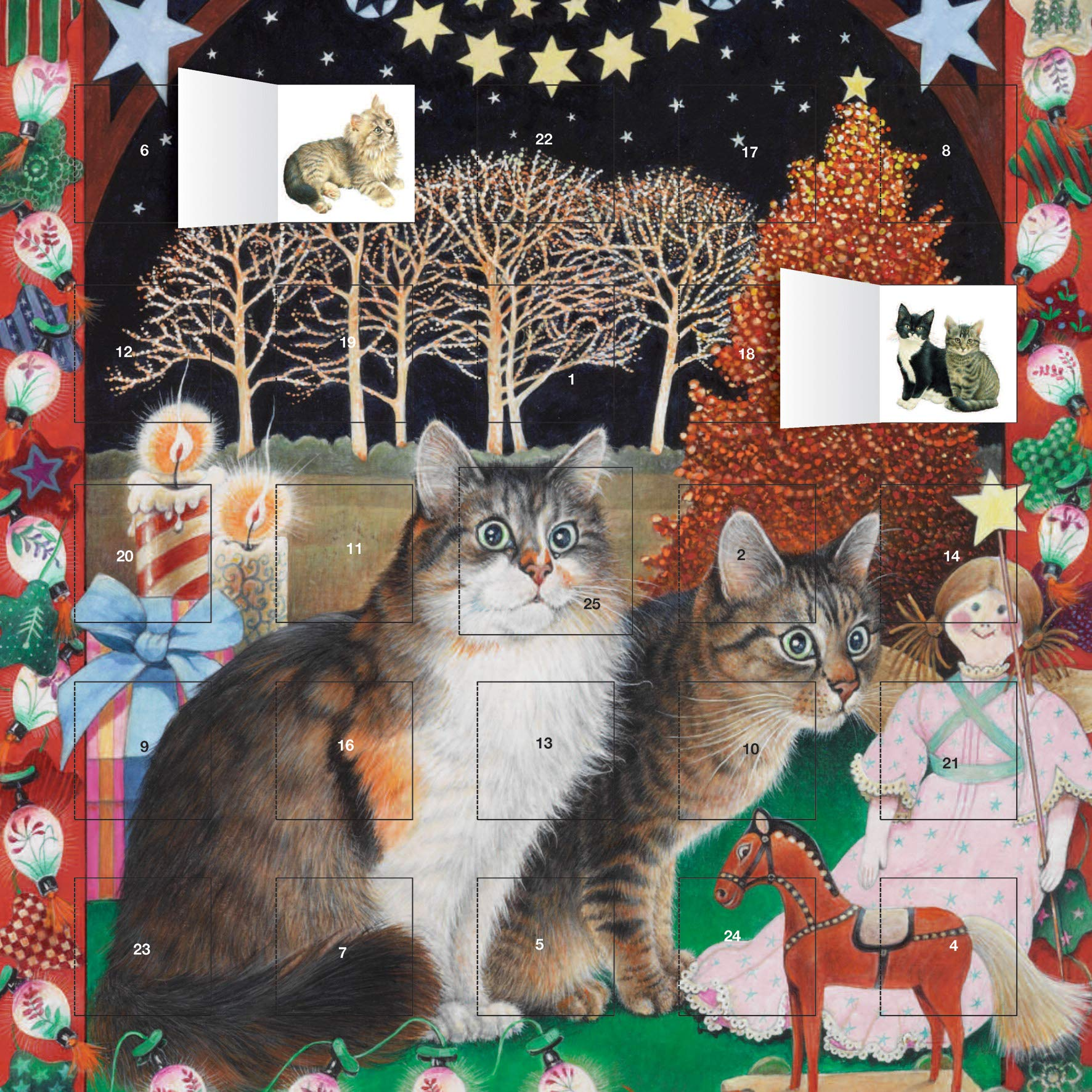Ivory Cats   An American Christmas Advent Calendar  With Stickers
