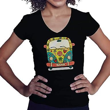 Lapi Boutique Peace Hippie Van Mobile Home Camisa Negra de Cuello en V para Mujer Size XXL: Amazon.es: Ropa y accesorios