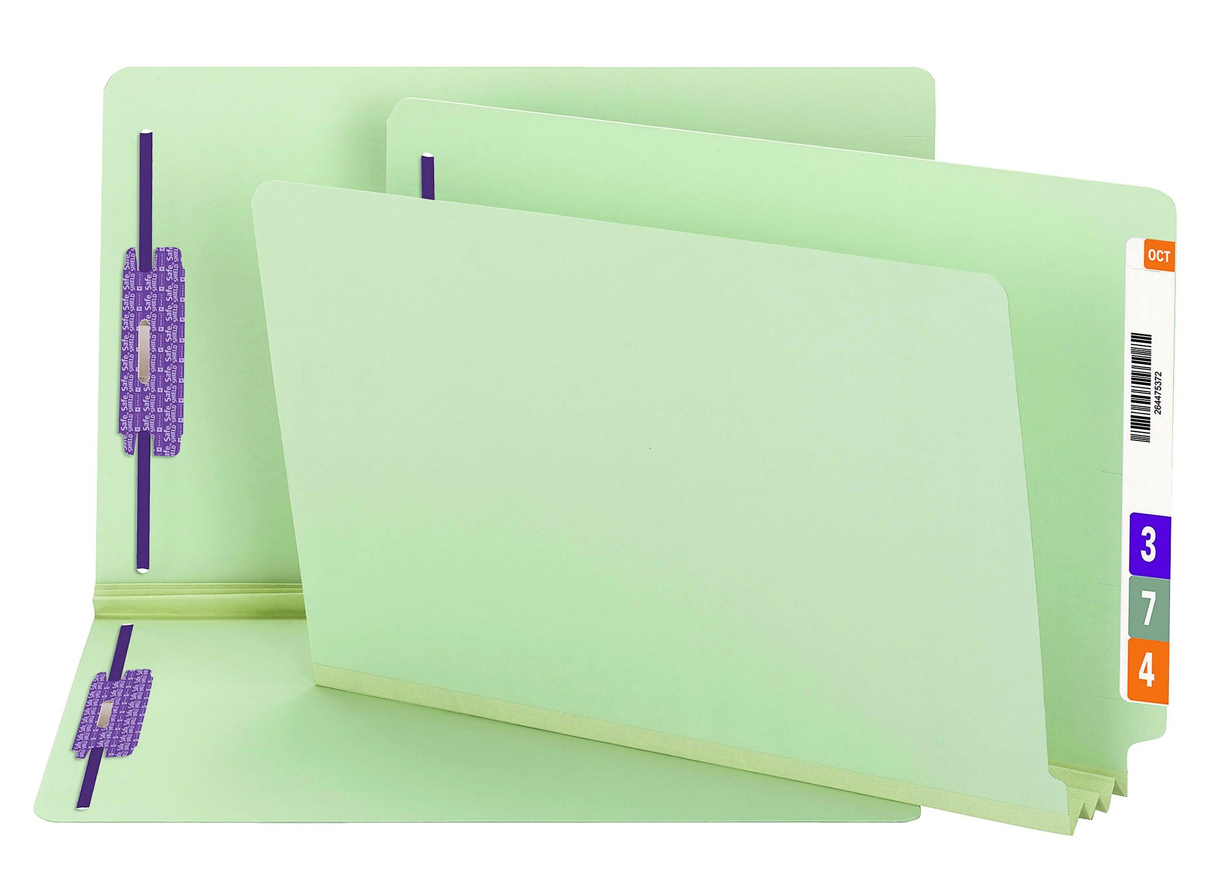 Smead End Tab Pressboard Fastener File Folder with SafeSHIELD Fasteners, 2 Fasteners, 3'' Expansion, Legal Size, Gray/Green, 25 per Box (37725)