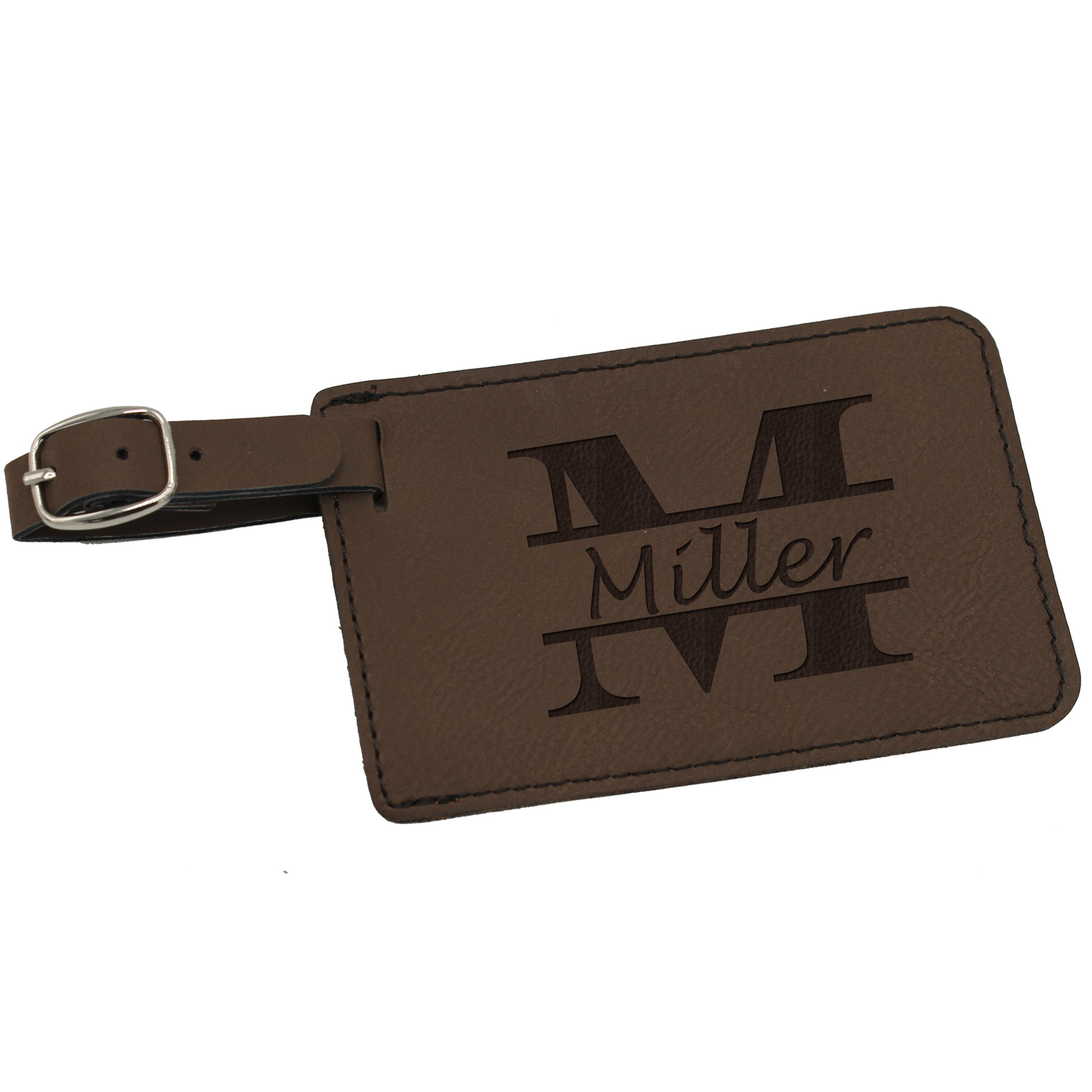 Custom Personalized Luggage Tag - Engraved Travel Gifts - Monogrammed for Free (Brown)
