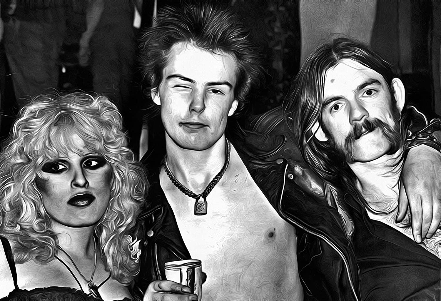 Mile high media lemmy sid vicious canvas poster 13x19 inch fine art canvas rare black and white print