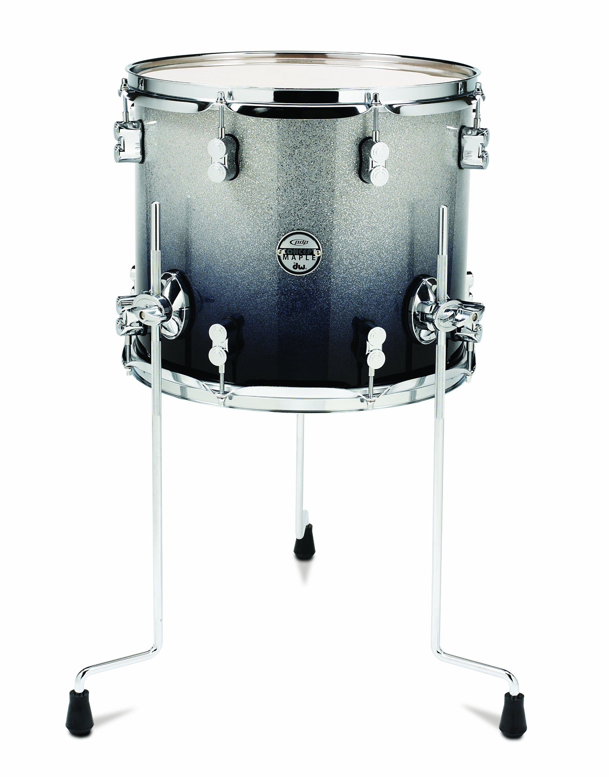 Pacific Drums PDCM1214TTSB 12 x 14 Inches Floor Tom with Chrome Hardware - Silver to Black Fade