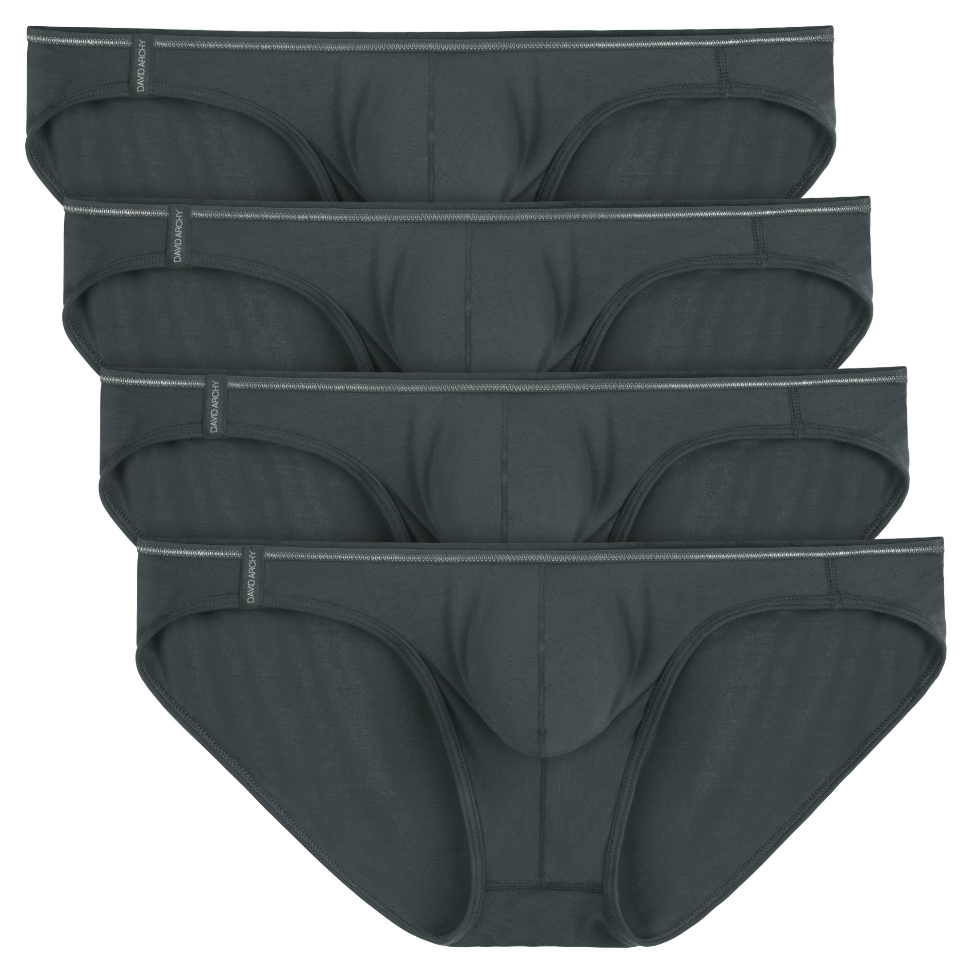 David Archy Men's 4 Pack Micromodal Air Sexy Bikinis and Briefs (M, Dark Gray)