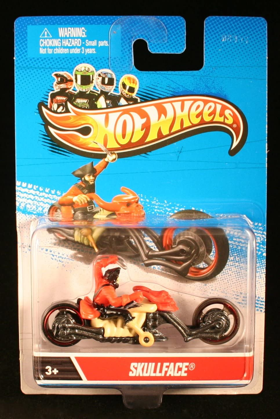 SKULLFACE DIECAST MOTORCYCLE BIKE WITH RIDER 1:64 SCALE 2012 Hot Wheels