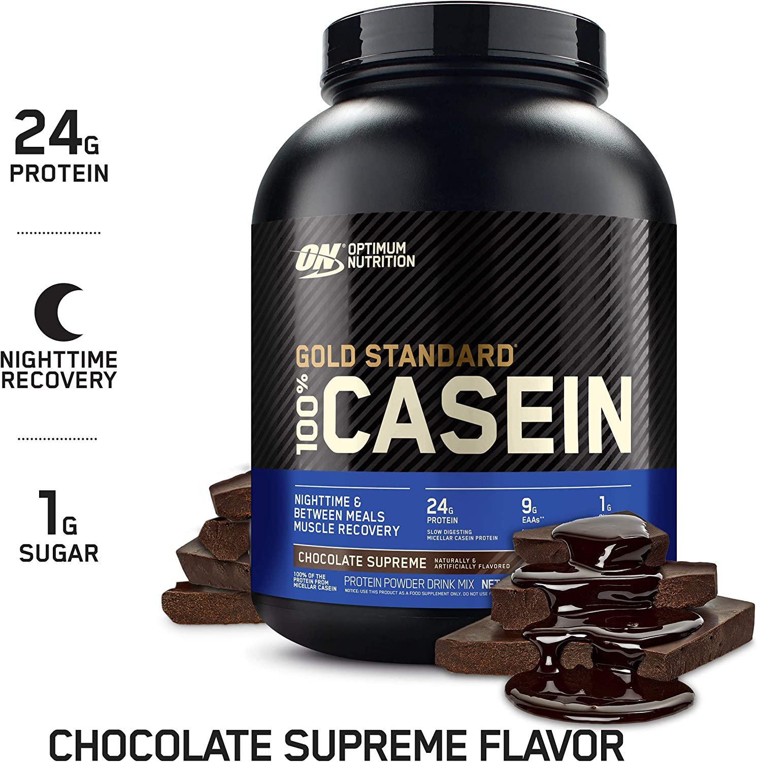 Optimum Nutrition Gold Standard 100% Micellar Casein Protein Powder, Slow Digesting, Helps Keep You Full, Overnight Muscle Recovery, Chocolate Supreme, 4 Pound (Packaging May Vary): Health & Personal Care