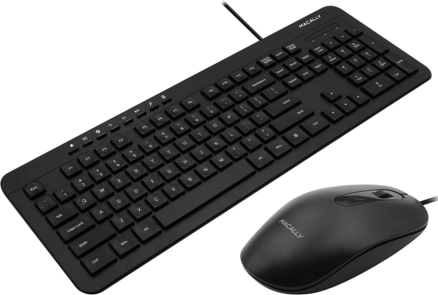 Macally USB Wired Keyboard and Mouse Combo Bundle - Simple & Easy to Use Ultra Slim Keyboard Mouse Combo - Compatible with Windows 10/8/7/Vista/Xp, etc. - Plug & Play