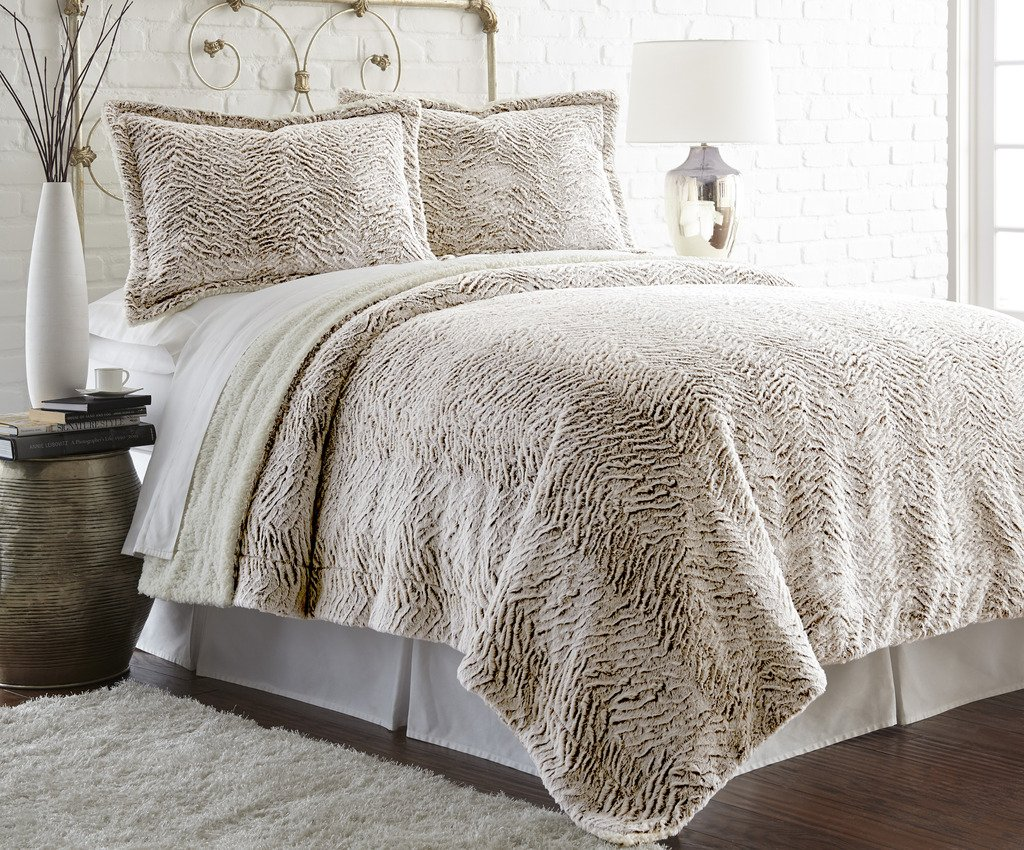 Faux fur/Sherpa 3 piece comforter set Chocolate King