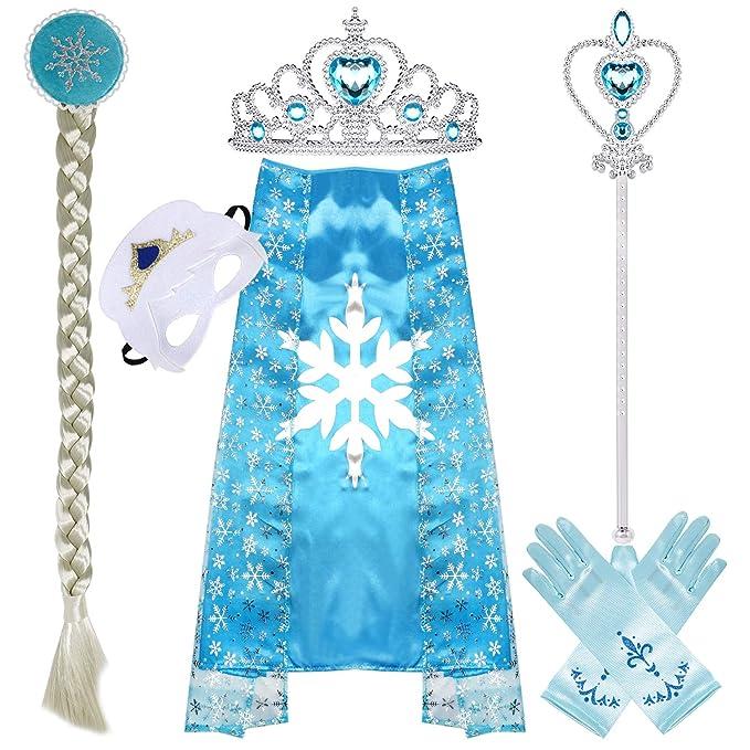 Frozen Elsa Dress Crown Wand Gloves Girls Set Blue Fancy Party Gift Birthday d4a694ccc9