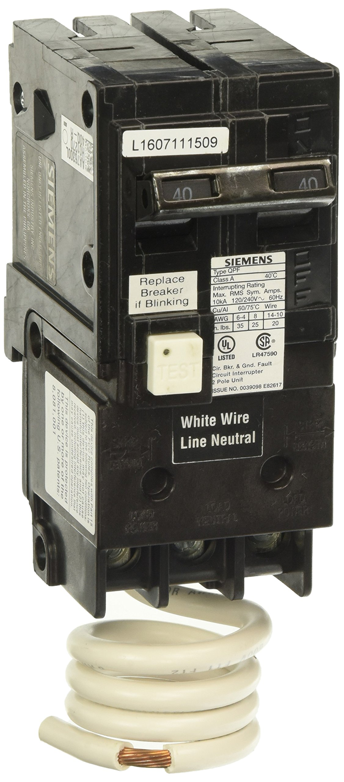 Siemens QF240A Ground Fault Circuit Interrupter, 40 Amp, 2 Pole, 120V, 10,000 Aic,