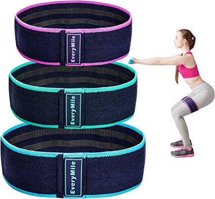 Fabric Exercise Bands Set Non-Slip EveryMile Resistance Bands for Legs and Butt