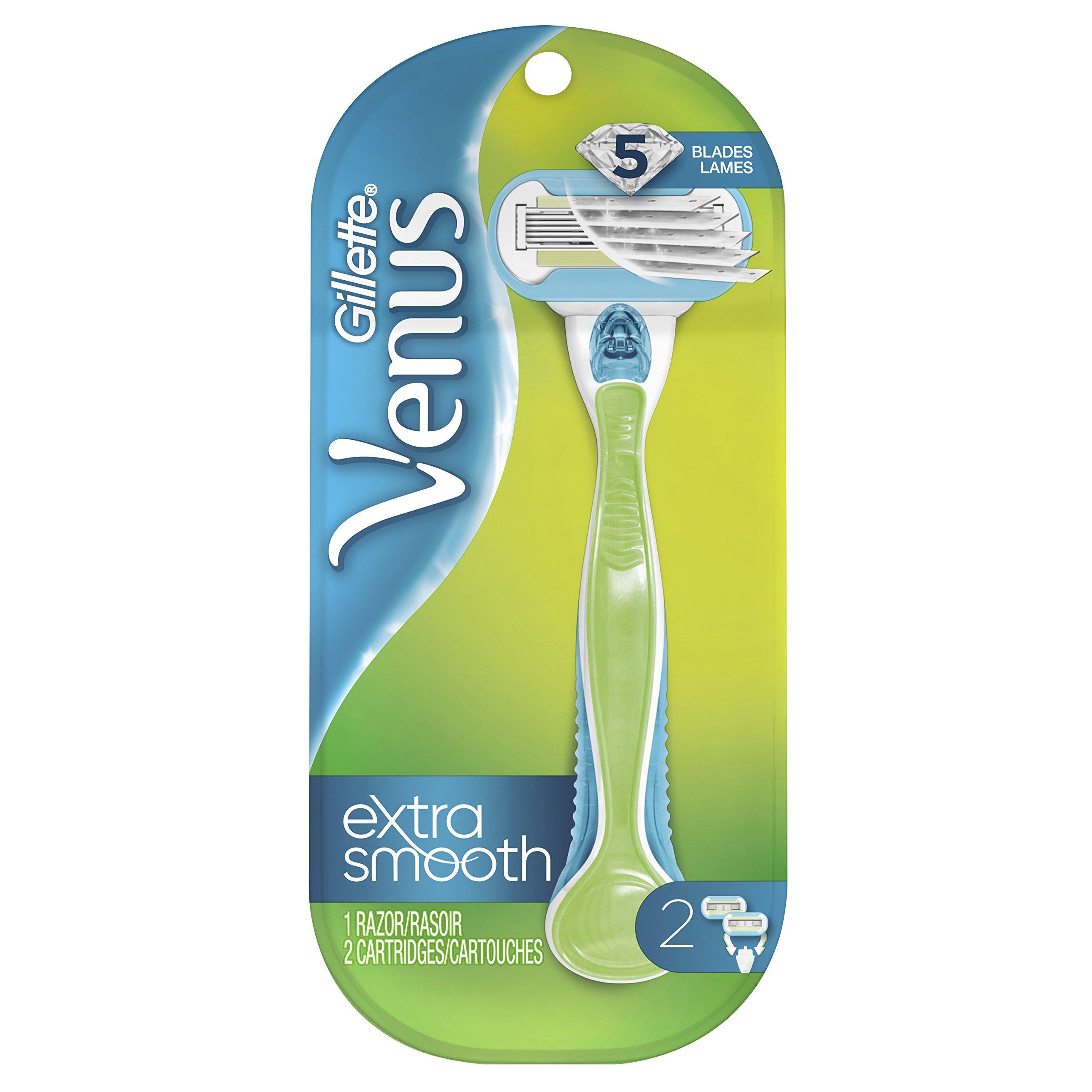 Gillette Venus Extra Smooth Green Women's Razor  - 1 handle + 2 Refills