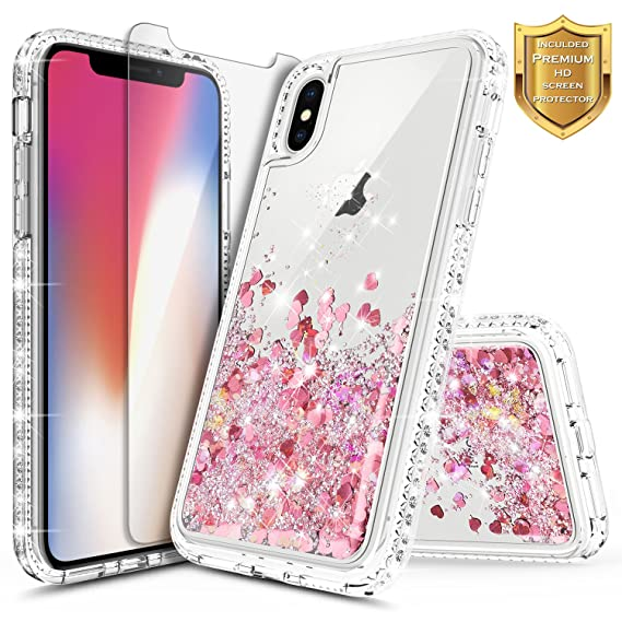 new products bb085 61512 iPhone X Case, iPhone Xs Glitter Case w/[Tempered Glass Screen Protector],  NageBee Liquid Quicksand Waterfall Floating Flowing Sparkle Shiny Bling ...