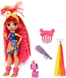 Mattel Cave Club Emberly Doll 8 – 10-inch, Pink Hair Poseable Prehistoric Fashion Doll with Dinosaur Pet and Accessories…