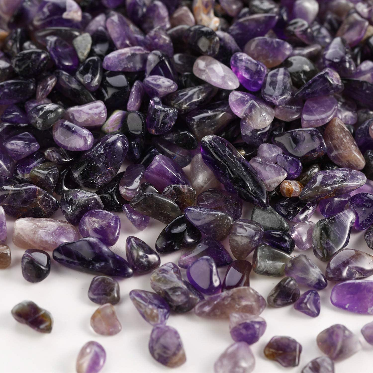 Zenkeeper 1Lb Amethyst Chip Healing Stones Crystals Authentic Crushed Tumbled Stones for Home Decoration, Air Plants, Roller Bottles