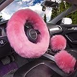 "Yontree Winter Warm Faux Wool Handbrake Cover Gear Shift Cover Steering Wheel Cover 14.96""x 14.96"" 1 Set 3 Pcs"