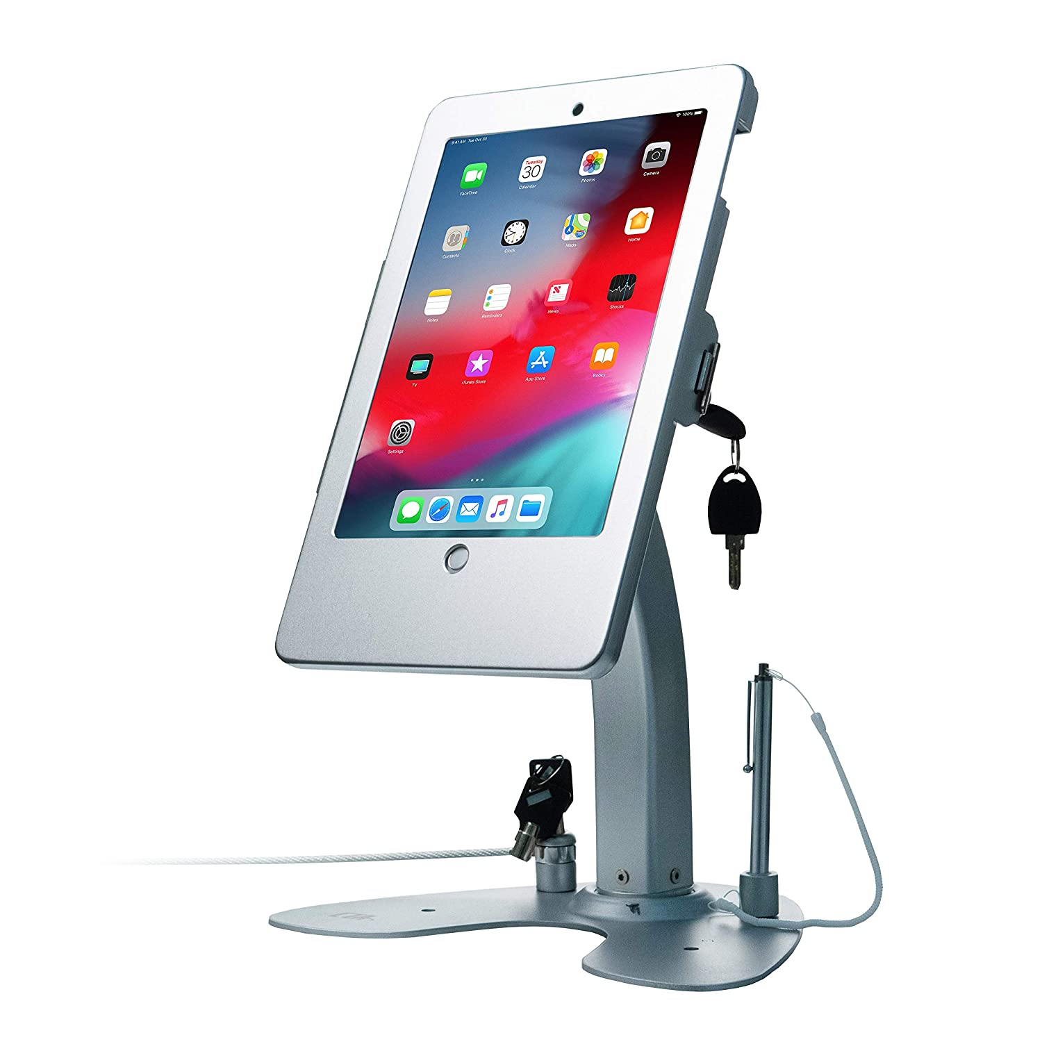 CTA Digital PAD-ASKDual Security Kiosk Stand with Locking Case and Cable for iPad Gen. 5 (2017), iPad Gen. 6 (2018), iPad Air, and iPad Pro 9.7